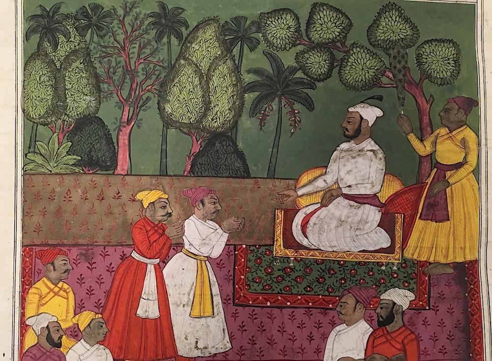 A king holds court, from Tipu Sultan's library, 18th century (British Library IO Islamic 1255, f. 7r)
